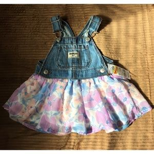 Flowers & Denim Overalls dress Jumper • floral
